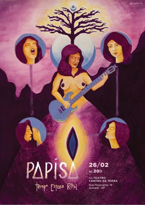Cartaz do Tempo Espaço Ritual pintado a guache pela artista Renata Oliveira.