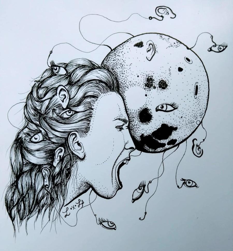 """Escuro Demais"" pela ilustradora Alice Vettorata de Trento, Itália."